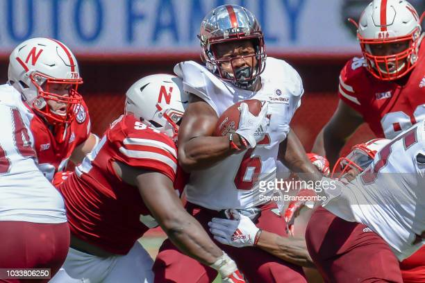 Wide receiver Sidney Davis of the Troy Trojans runs against the Nebraska Cornhuskers in the second half at Memorial Stadium on September 15 2018 in...