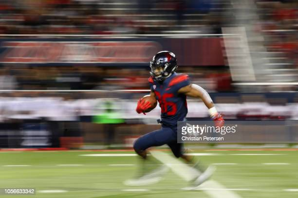 Wide receiver Stanley Berryhill III of the Arizona Wildcats returns a kickoff against the Colorado Buffaloes during the second half of the college...