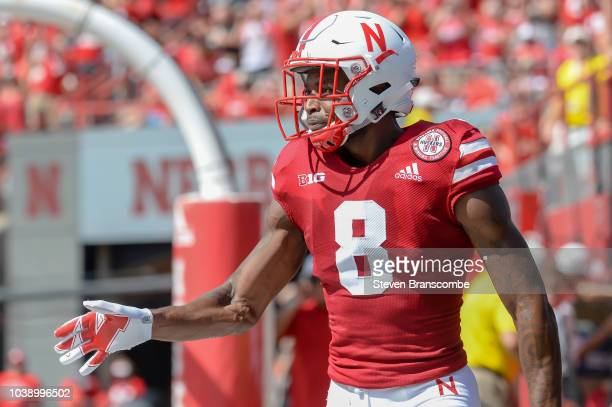 Wide receiver Stanley Morgan Jr #8 of the Nebraska Cornhuskers reacts after scoring against the Troy Trojans at Memorial Stadium on September 15 2018...