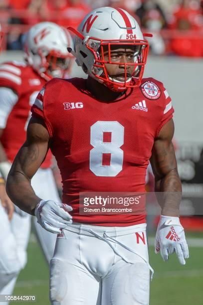 Wide receiver Stanley Morgan Jr #8 of the Nebraska Cornhuskers readies for a play against the Minnesota Golden Gophers at Memorial Stadium on October...