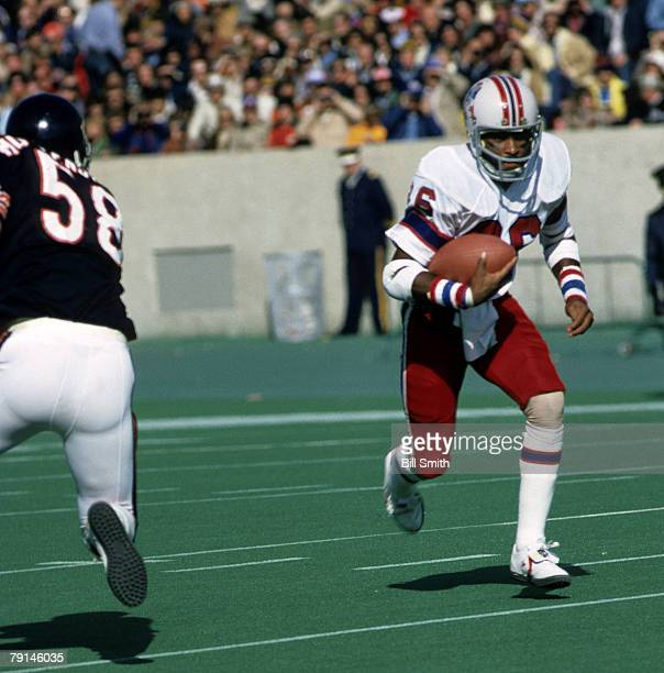 Wide receiver Stanley Morgan of the New England Patriots runs upfield in a 27 to 7 win over the Chicago Bears on October 14 1979 at Soldier Field in...