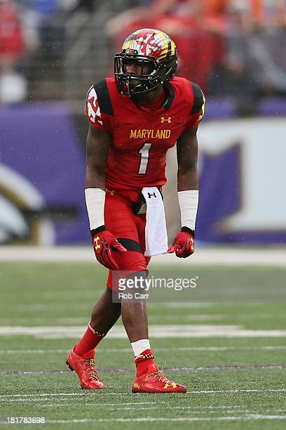 Wide receiver Stefon Diggs of the Maryland Terrapins lines up against the West Virginia Mountaineers at MT Bank Stadium on September 21 2013 in...