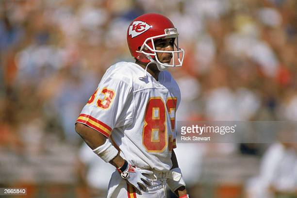 Wide receiver Stephone Paige of the Kansas City Chiefs stands on the field during a NFL game against the San Diego Chargers on September 24 1989 at...