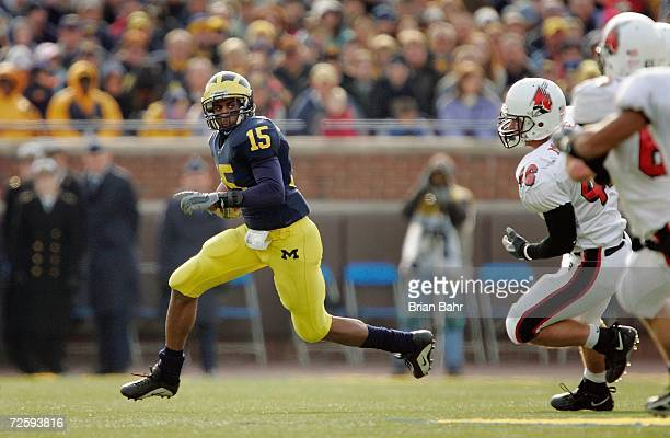 Wide receiver Steve Breaston of the Michigan Wolverines during the NCAA game against the Ball State Cardinals on November 4 2006 at Michigan Stadium...