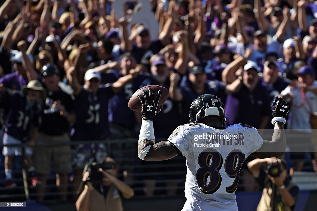 Wide receiver Steve Smith #89 of the Baltimore Ravens celebrates a fourth quarter touchdown against the Cincinnati Bengals at M&T Bank Stadium on September 7, 2014 in Baltimore, Maryland.