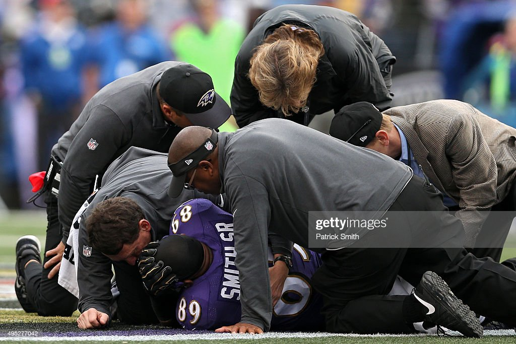 Wide receiver Steve Smith #89 of the Baltimore Ravens is tended to by medial staff after being injured in the third quarter against the San Diego Chargers at M&T Bank Stadium on November 1, 2015 in Baltimore, Maryland.