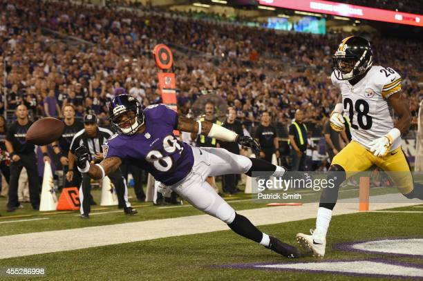 Wide receiver Steve Smith of the Baltimore Ravens misses a touchdown pass in front of cornerback Cortez Allen of the Pittsburgh Steelers during 2nd...