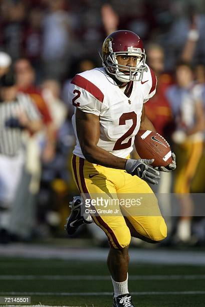 Wide receiver Steve Smith of the USC Trojans runs with the ball against the Washington State Cougars on September 30 2006 at Martin Stadium in...