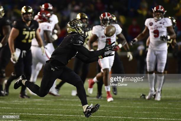 Wide receiver Tabari Hines of the Wake Forest Demon Deacons makes a long reception against the North Carolina State Wolfpack at BBT Field on November...