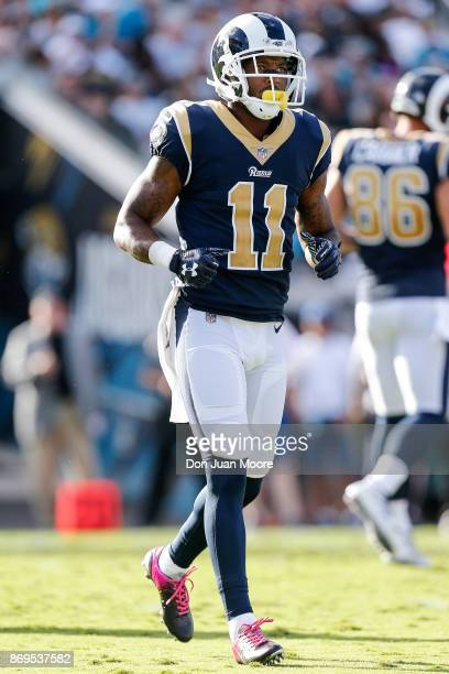 Wide Receiver Tavon Austin of the Los Angeles Rams during the game against the Jacksonville Jaguars at EverBank Field on October 15 2017 in...