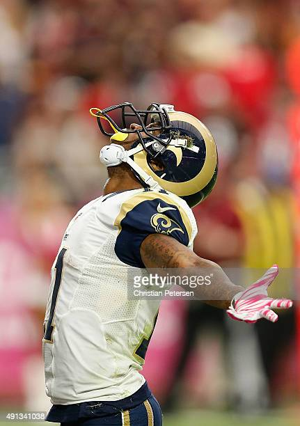 Wide receiver Tavon Austin of the St Louis Rams celebrates his fourthquarter touchdown during the NFL game against the Arizona Cardinals at the...