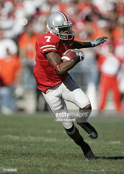 Wide receiver Ted Ginn Jr #7 of the Ohio State Buckeyes runs with the ball during the game against the Bowling Green Falcons at Ohio Stadium on...