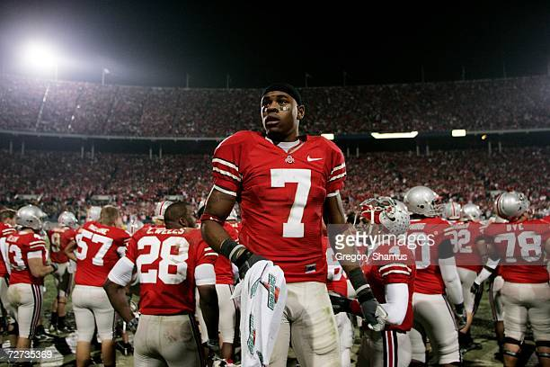 Wide receiver Ted Ginn Jr #7 of the Ohio State Buckeyes stands on the sideline near the end of the game against the Michigan Wolverines on November...