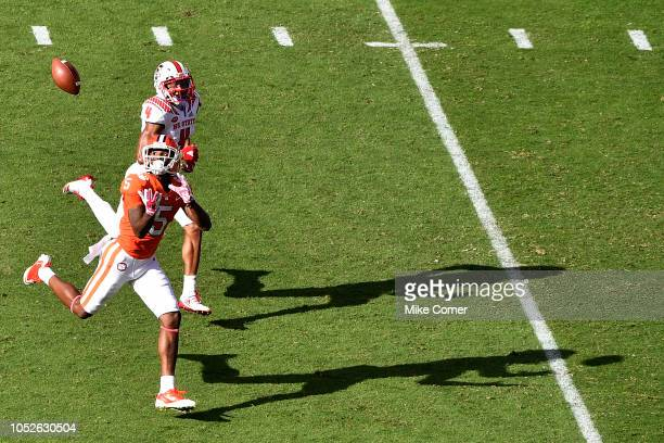 Wide receiver Tee Higgins of the Clemson Tigers makes a touchdown reception past cornerback Nick McCloud of the North Carolina State Wolfpack during...