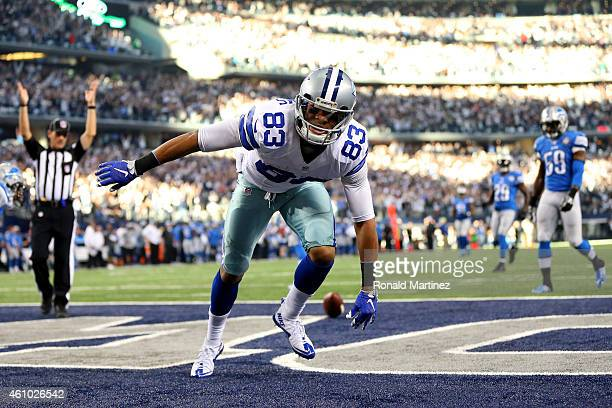 Wide receiver Terrance Williams of the Dallas Cowboys celebrates after a 76-yard second quarter touchdown catch against the Detroit Lions during the...