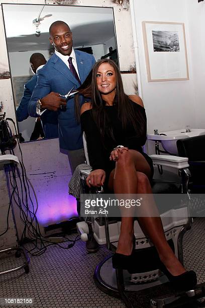 NFL wide receiver Terrell Owens and TV personality Sammi 'Sweetheart' Giancola attend the 2011 Terrell Owens Speakeasy Soiree at The Blind Barber on...