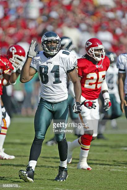 Wide receiver Terrell Owens of the Philadelphia Eagles complains about a call during the game against the Kansas City Chiefs on October 2 2005 at...