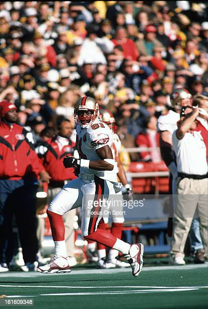 Wide Receiver Terrell Owens of the San Francisco 49ers in action against the Pittsburgh Steelers during an NFL football game December 15 1996 at...