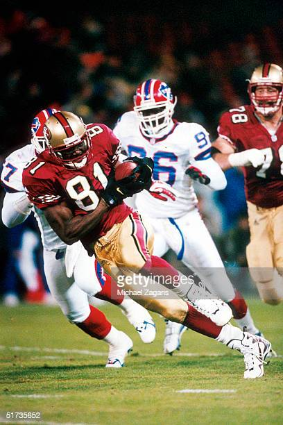 Wide receiver Terrell Owens of the San Francisco 49ers on the run in a 35 to 0 win over the Buffalo Bills on