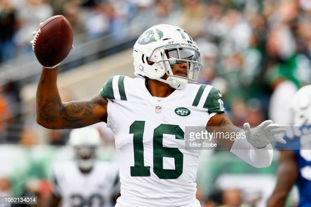 Wide receiver Terrelle Pryor of the New York Jets celebrates his touchdown against the Indianapolis Colts during the second quarter at MetLife...