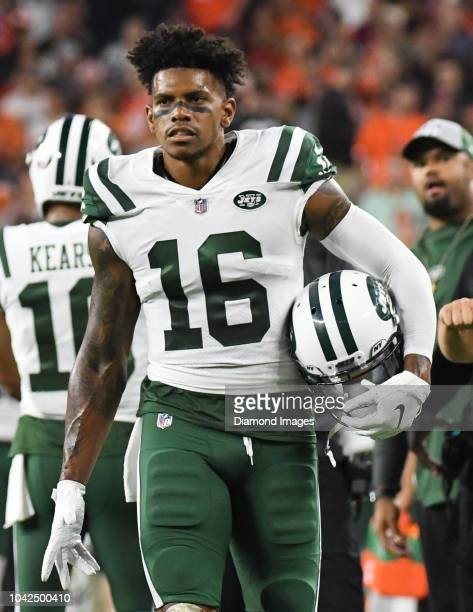 Wide receiver Terrelle Pryor of the New York Jets greets teammates on the sideline after a rushing touchdown by running back Isaiah Crowell in the...