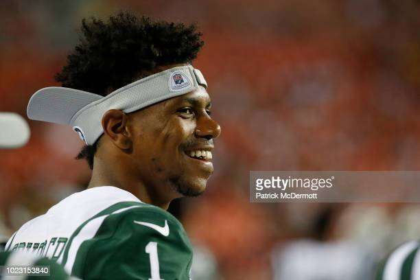 Wide receiver Terrelle Pryor of the New York Jets looks on during a preseason game against the Washington Redskins at FedExField on August 16, 2018...
