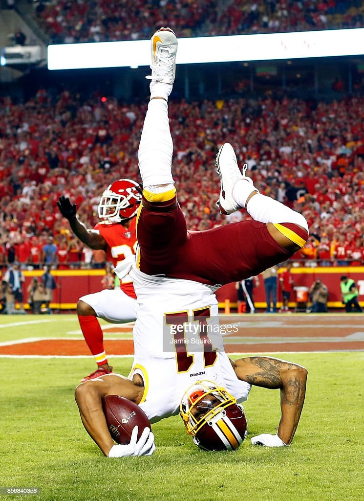 Wide receiver Terrelle Pryor #11 of the Washington Redskins catches a pass in the end zone for a touchdown as cornerback Marcus Peters #22 of the Kansas City Chiefs defends during the game at Arrowhead Stadium on October 2, 2017 in Kansas City, Missouri.