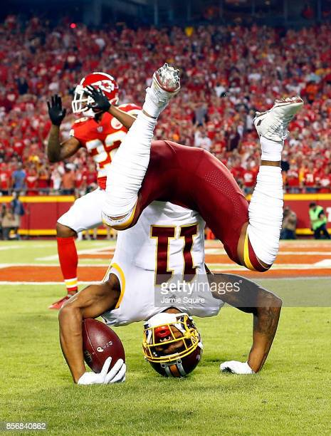Wide receiver Terrelle Pryor of the Washington Redskins catches a pass in the end zone for a touchdown as cornerback Marcus Peters of the Kansas City...