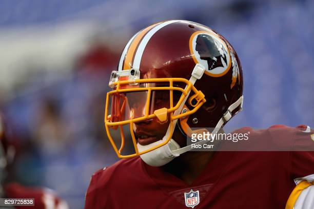 Wide receiver Terrelle Pryor of the Washington Redskins warms up before the start of a preseason game against the Baltimore Ravens at MT Bank Stadium...