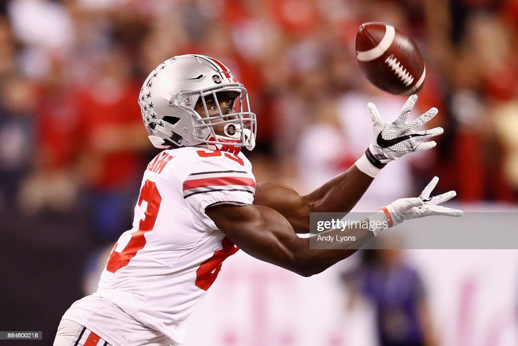 Wide receiver Terry McLaurin #83 of the Ohio State Buckeyes makes the catch and runs it in for a touchdown against the Wisconsin Badgers during the Big Ten Championship game at Lucas Oil Stadium on December 2, 2017 in Indianapolis, Indiana.