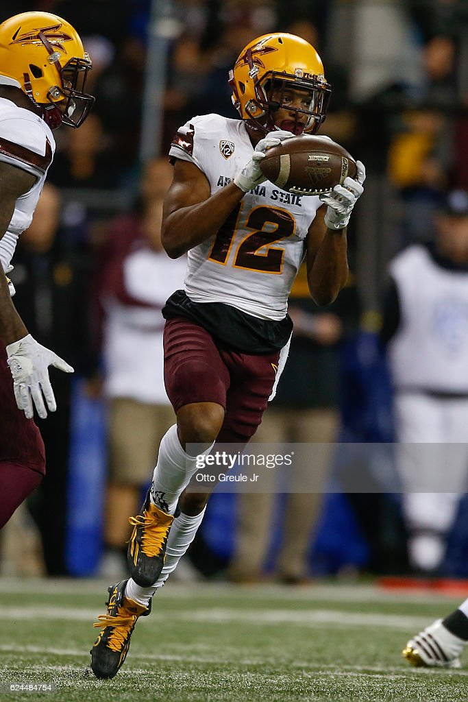 Wide receiver Tim White #12 of the Arizona State Sun Devils rushes against the Washington Huskies on November 19, 2016 at Husky Stadium in Seattle, Washington. The Huskies defeated the Sun Devils 44-18.