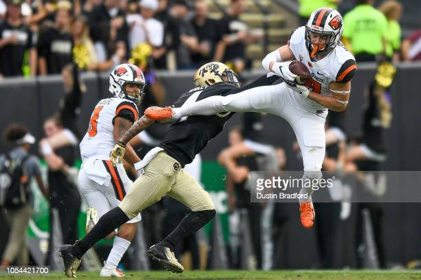 Wide receiver Timmy Hernandez of the Oregon State Beavers catches a pass in the third quarter of a game against the Colorado Buffaloes at Folsom...