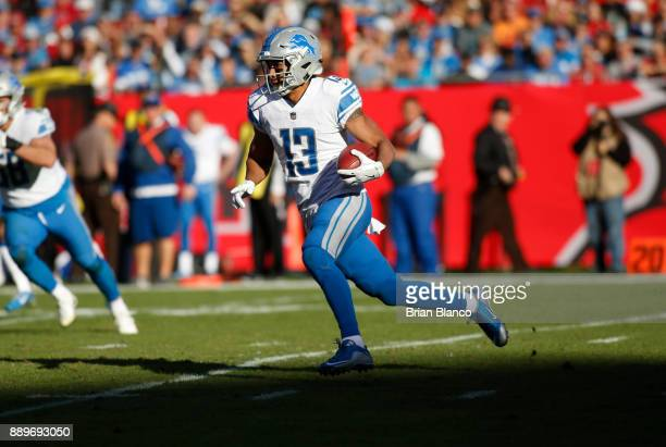 Wide receiver TJ Jones of the Detroit Lions runs for several yards during the fourth quarter of an NFL football game on December 10 2017 at Raymond...