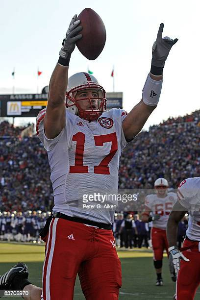 Wide receiver Todd Peterson of the Nebraska Cornhuskers reacts after scoring a 5yard touchdown pass against the Kansas State Wildcats during the...