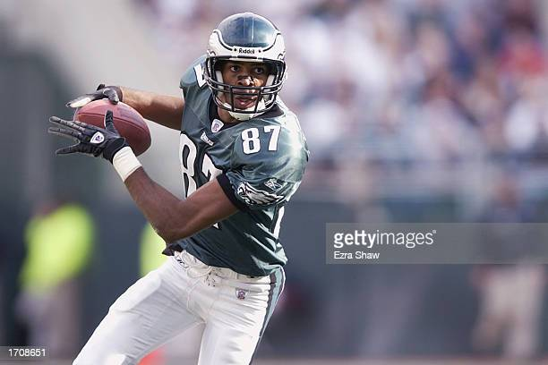 Wide Receiver Todd Pinkston of the Philadelphia Eagles has possession of the ball during the NFL game against the Indianapolis Colts at Veterans...