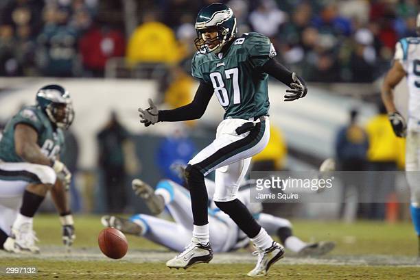 Wide receiver Todd Pinkston of the Philadelphia Eagles looks at the ball on the ground in the game against the Carolina Panthers in the NFC...
