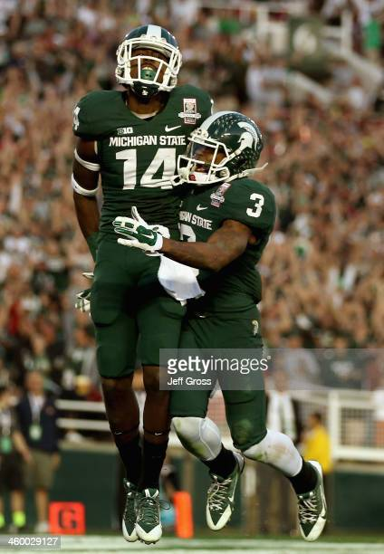 Wide receiver Tony Lippett of the Michigan State Spartans celebrates a touchdown in the fourth quarter of the 100th Rose Bowl Game presented by Vizio...