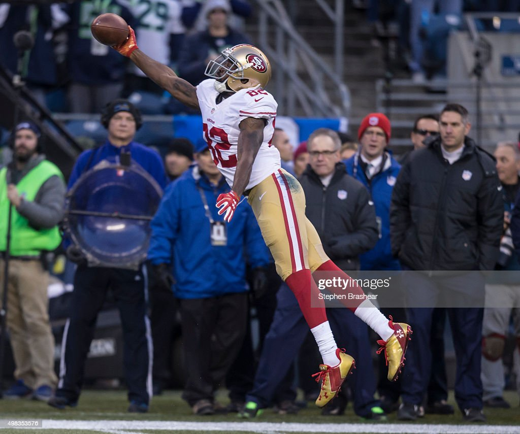 Wide receiver Torrey Smith #82 of the San Francisco 49ers makes a catch during the second half of a game against the Seattle Seahawks at CenturyLink Field on November 22, 2015 in Seattle, Washington. The Seahawks won the game 29-13.