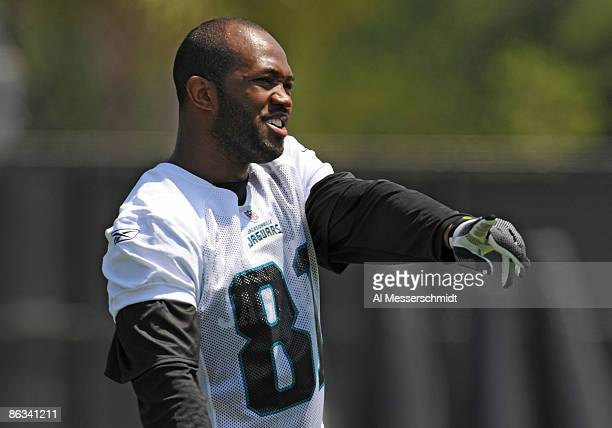 Wide receiver Tory Holt of the Jacksonville Jaguars watches play May 1 2009 at a team minicamp near Jacksonville Municipal Stadium in Jacksonville...