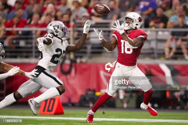 Wide receiver Trent Sherfield of the Arizona Cardinals catches a 40 yard touchdown reception ahead of cornerback Nick Nelson of the Oakland Raiders...