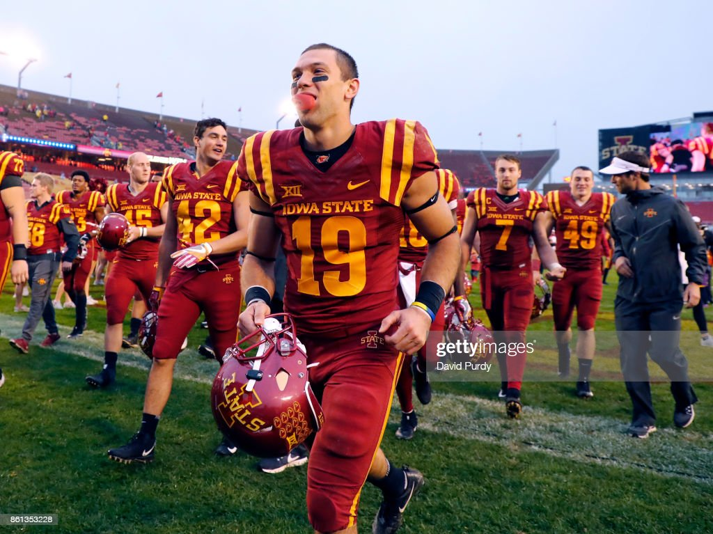 Wide receiver Trever Ryen #19 of the Iowa State Cyclones leaves the field with his teammates after the won 45-0 over the Kansas Jayhawks in the second half of play at Jack Trice Stadium on October 14, 2017 in Ames, Iowa. The Iowa State Cyclones won 45-0 over the Kansas Jayhawks.