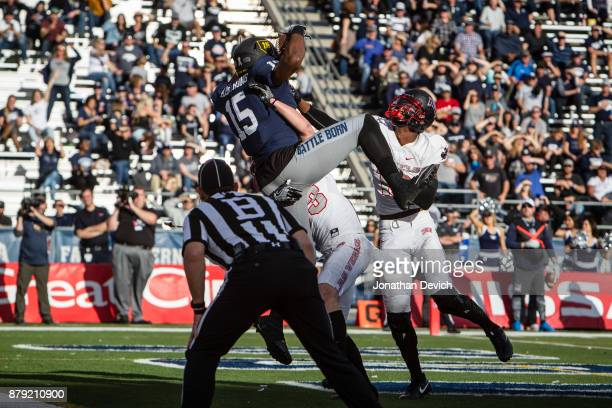 Wide receiver Trevion Armstrong of the Nevada Wolf Pack catches a pass for a touchdown against the UNLV Rebels at Mackay Stadium on November 25 2017...
