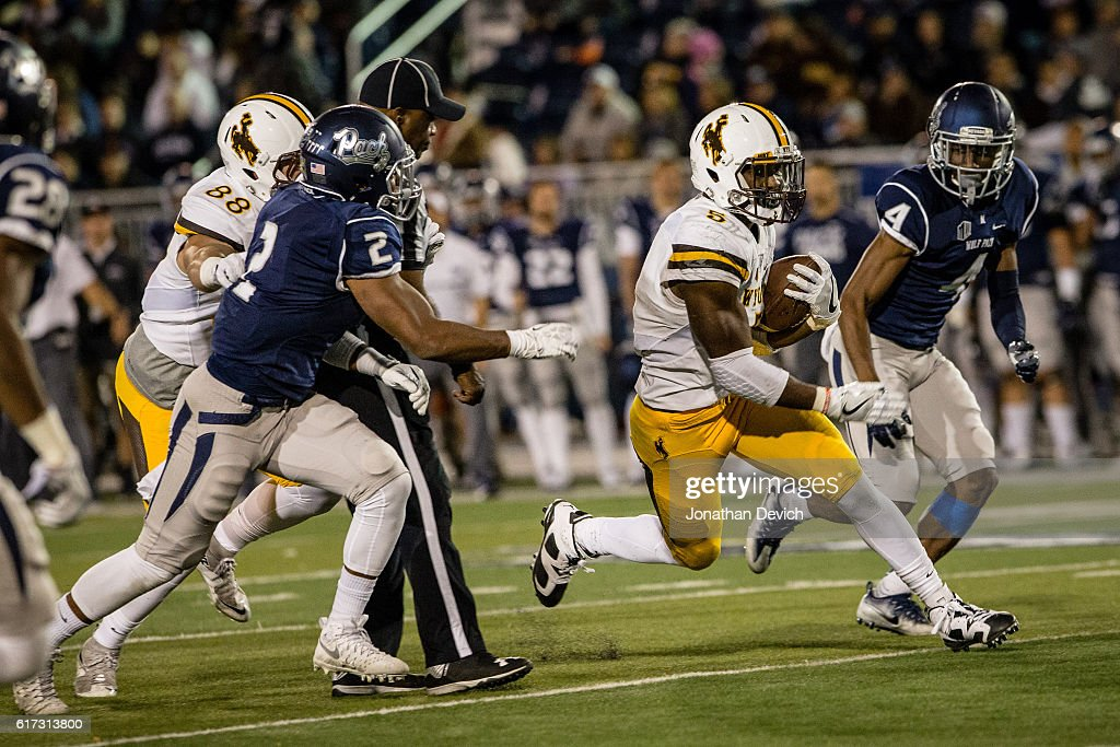 Wide receiver Trevion Armstrong #5 of Wyoming runs against the Nevada defense at Mackay Stadium on October 22, 2016 in Reno, Nevada.