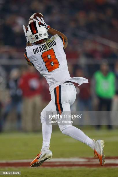 Wide receiver Trevon Bradford of the Oregon State Beavers catches a pass for a 63 yard touchdown reception during the first quarter against the...