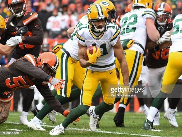 Wide receiver Trevor Davis of the Green Bay Packers returns a kickoff in the first quarter of a game on December 10 2017 against the Cleveland Browns...