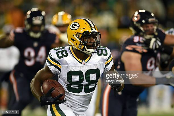 Wide receiver Ty Montgomery of the Green Bay Packers carries the ball against the Chicago Bears in the first quarter at Lambeau Field on October 20...