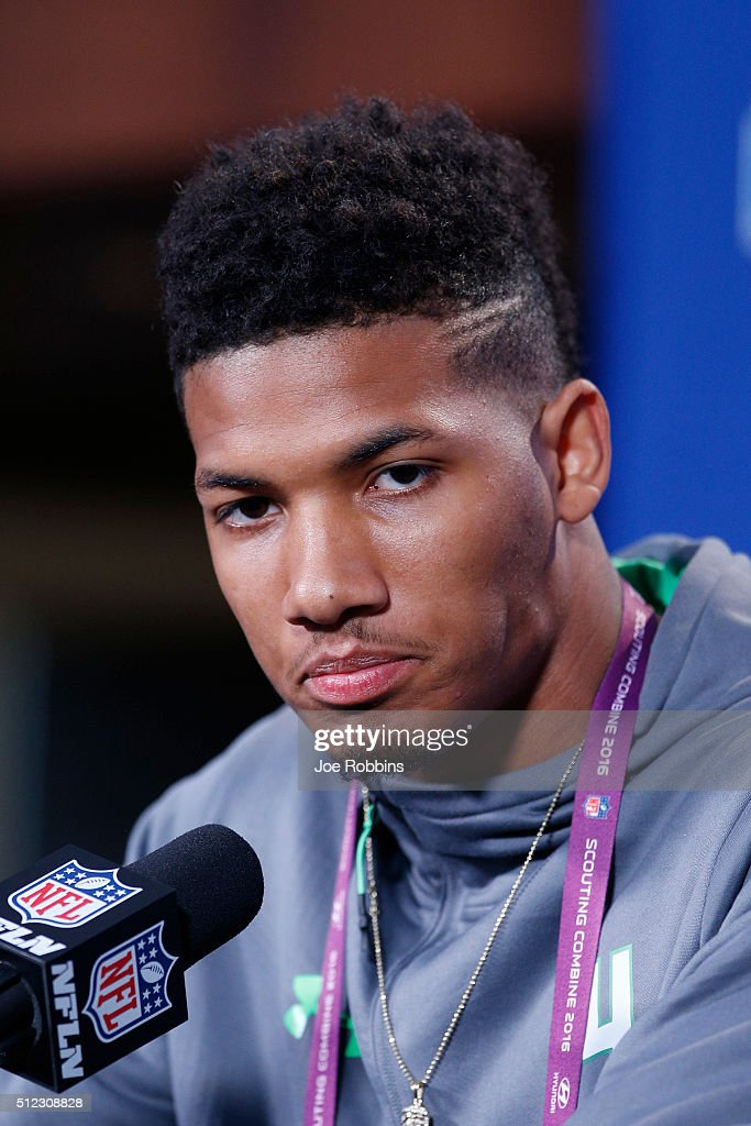 Wide receiver Tyler Boyd #4 of Pittsburgh speaks to the media during the 2016 NFL Scouting Combine at Lucas Oil Stadium on February 25, 2016 in Indianapolis, Indiana.