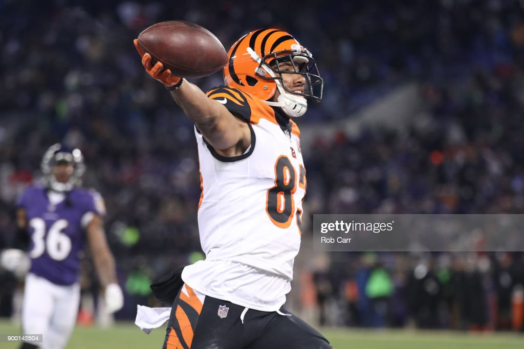 Wide receiver Tyler Boyd #83 of the Cincinnati Bengals celebrates after scoring a touchdown in the fourth quarter against the Baltimore Ravens at M&T Bank Stadium on December 31, 2017 in Baltimore, Maryland.