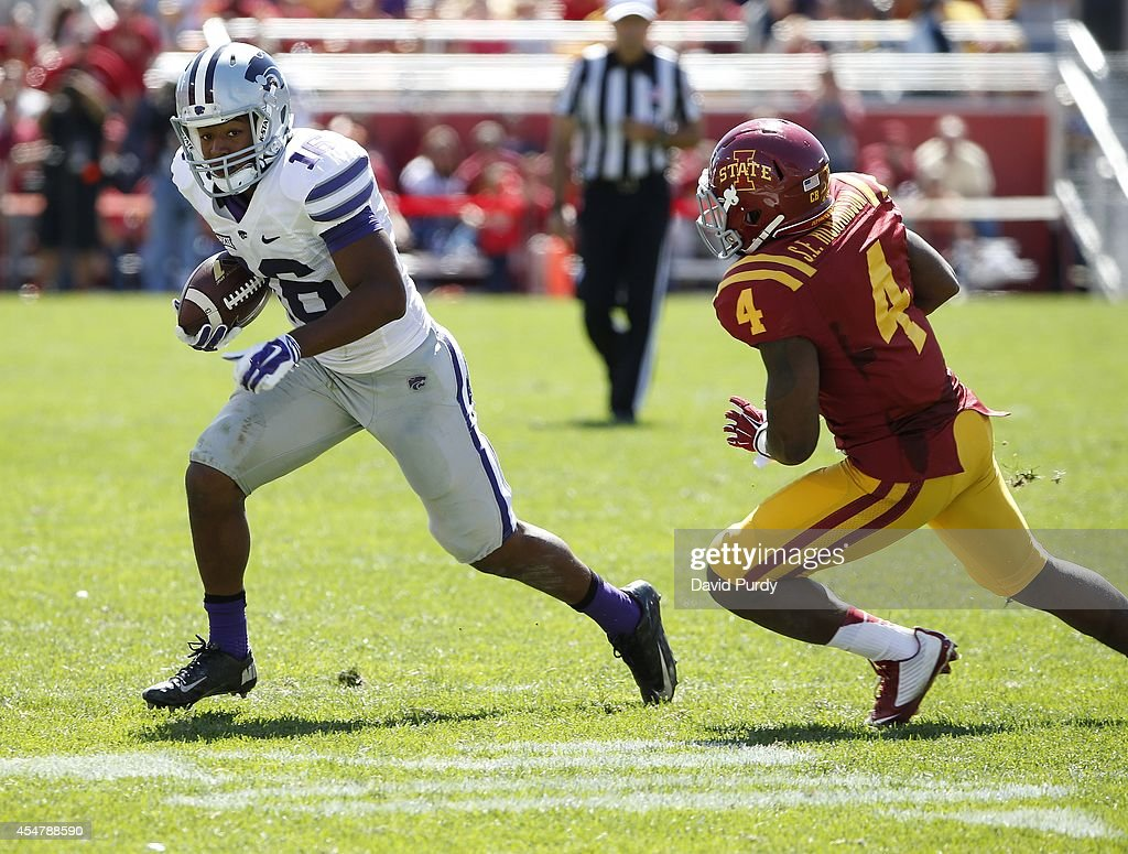 Wide receiver Tyler Lockett #16 of the Kansas State Wildcats rushes for yards past defensive back Sam E. Richardson #4 of the Iowa State Cyclones in the second half of play at Jack Trice Stadium on September 6, 2014 in Ames, Iowa. Kansas State won 32-28 over the Iowa State Cyclones.