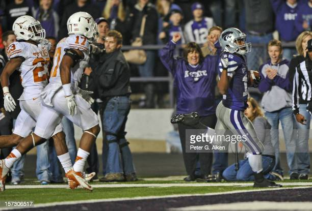 Wide receiver Tyler Lockett of the Kansas State Wildcats scores a touchdown on a pass play against the Texas Longhorns during the second half on...